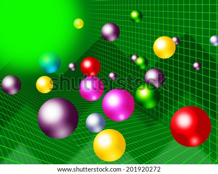 Green Balls Background Showing Brightness Colorful And Graph