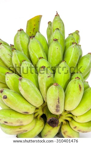 Green banana isolated on white background