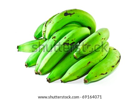 green bananas raw bunch isolated on white background