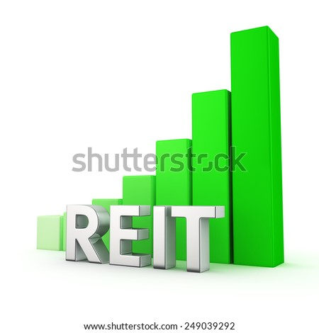Green bar graph of REIT on white. Growth and development concept. - stock photo