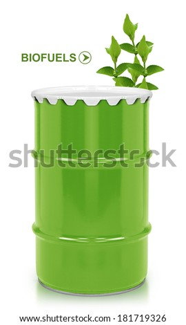 Green barrel of bio fuel, environment conceptual design. (with clipping work path) - stock photo