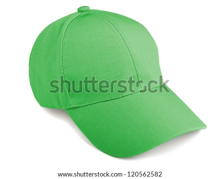 Green baseball cap isolated on a white background - stock photo
