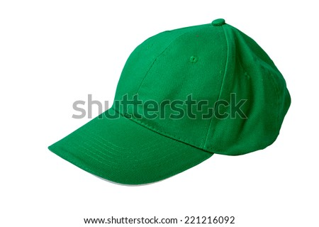 green  baseball cap. Isolated on white background - stock photo