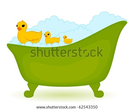 green bath with ducks in isolated on white background - stock photo