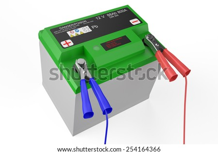green battery car isolated on white background - stock photo
