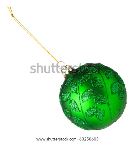 Green bauble for Christmas Tree on white background - stock photo