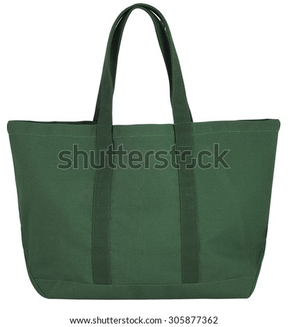 green beach bag isolated