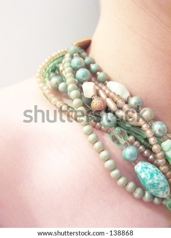 green beaded necklace - stock photo