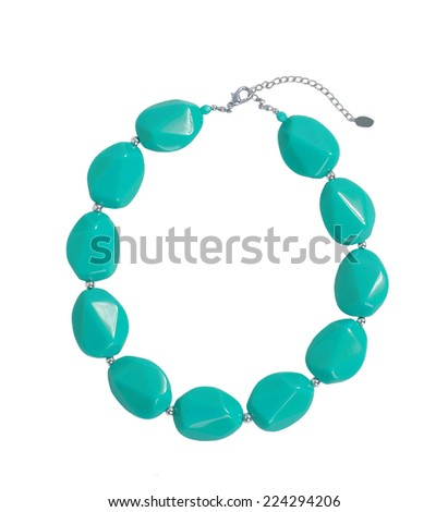 green beads isolated on white - stock photo