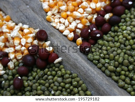 green beans and corn seeds - stock photo