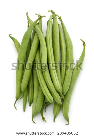 Green beans handful isolated on white background cutout - stock photo