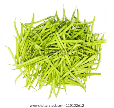 green beans isolated on white background - stock photo