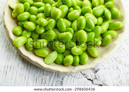 green beans on white wooden table, top view - stock photo