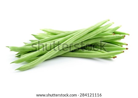 Green beans - or string beans - isolated on a white background. - stock photo