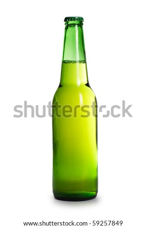 green beer bottle isolated over white background - stock photo