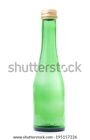 Green beer bottle isolated with white background - stock photo