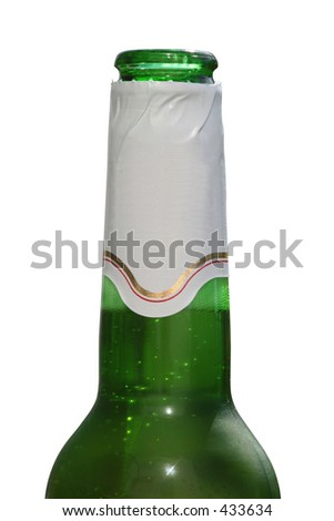 Green beer bottle with a blank sticker against a white background. (This image contains a clipping path) - stock photo