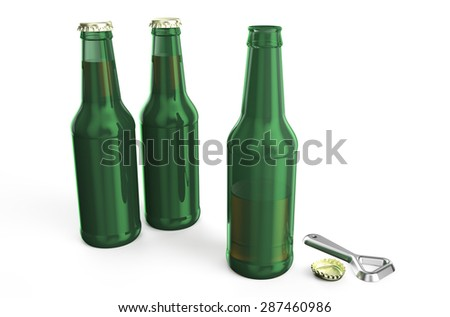 green beer bottles with opener isolated on white background