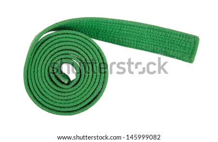Green belt isolated on a white background - stock photo
