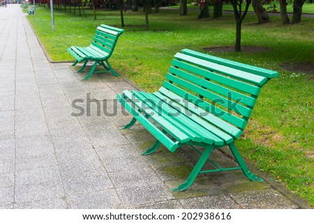 Green bench at a park