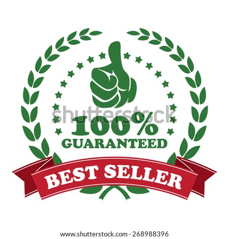 green best seller 100% guaranteed ribbon, sticker, sign, icon, label isolated on white