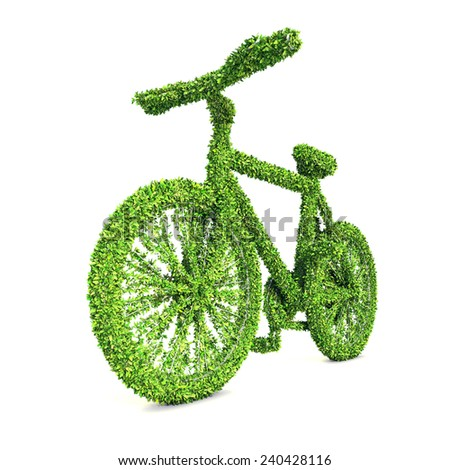 Green Bicycle, Ecology concept, Clipping path included. - stock photo