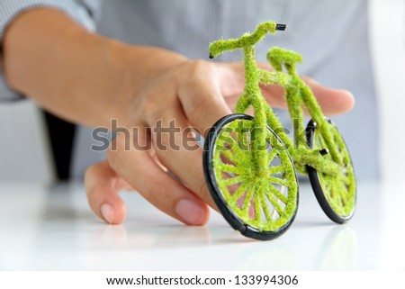 green bicycle icon concept - stock photo