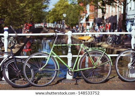 green bicycle in Netherlands