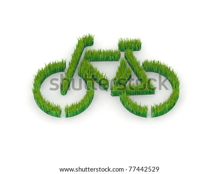 green bicycle made with grass