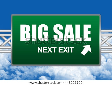 Green Big Sale Next Exit Street Sign in Blue Sky Background