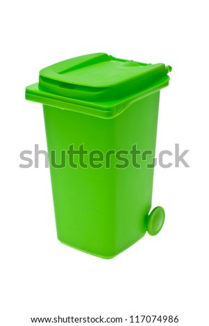 Green bin for recycling isolated on white background.