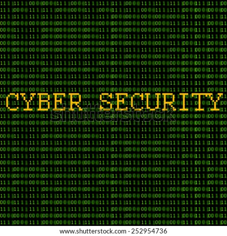 "Green binary code with the words ""Cyber Security"" on a black background. - stock photo"