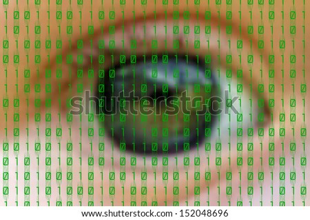 green binary numbers on human eye background - stock photo