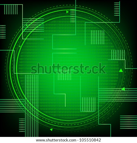 Green Binary Technology. Eps Version Also Available In Gallery. - stock photo
