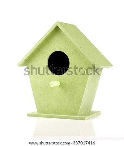 green birdhouse on a white background - stock photo