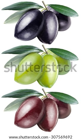 Green, black and kalamata olives with leaves on a white background. File contains clipping paths. - stock photo