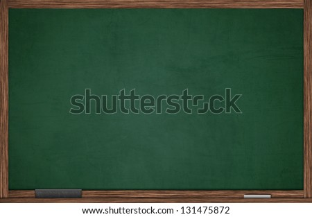 Green blackboard in wooden frame with eraser and chalk - stock photo