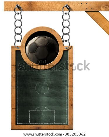 Green blackboard with a soccer field and an old soccer ball. Hanging from a metal chain on wooden pole and isolated on white - stock photo