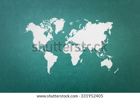 Green blackboard world map outline elements stock photo image green blackboard with world map outline elements of world map image from nasa public domain gumiabroncs Images