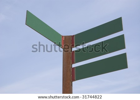 Green blank directions panels on a blue sky