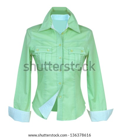 green blouse - stock photo
