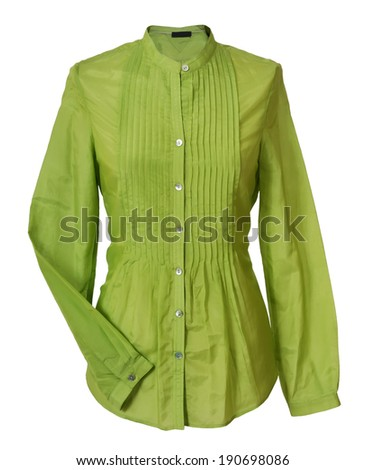 green blouse isolated on white - stock photo
