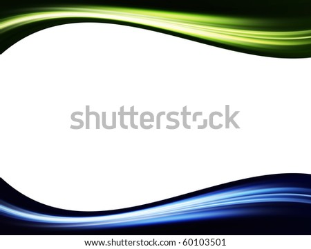 Green,blue and black dynamic waves over white background