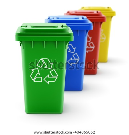 Green, blue, red and yellow recycle bins - 3D illustration