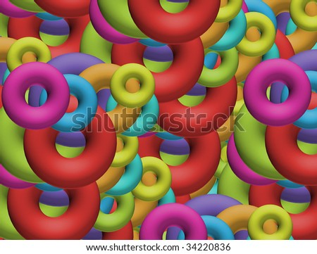 Green, blue, yellow, orange and red abstract shapes, multicolored image. Holiday illustration