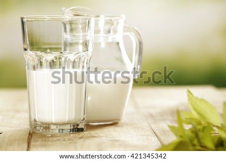 green blurred background and fresh milk  - stock photo