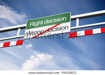 green board way with right and wrong decision text strikethr ough red line - stock photo