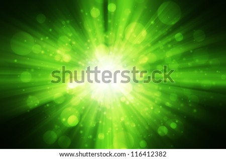 green bokeh light background - stock photo