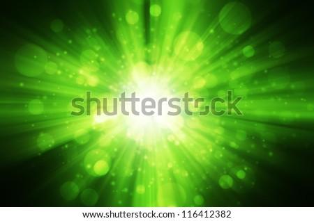 green bokeh light background - stock photo
