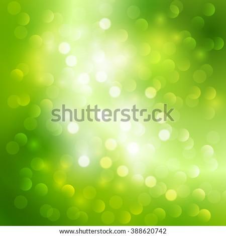 Green bokeh  light background. Spring light. Green blurred banner. Light green bokeh - stock photo